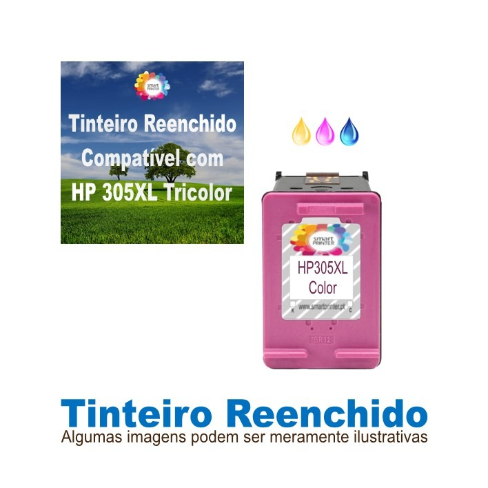 Tinteiro HP305XL Tricolor Reenchido