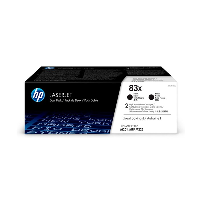 Pack 2 Toners HP CF283XD Black 83X