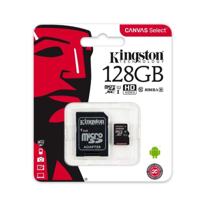 Cartão de memória Micro SDXC KINGSTON C10 128GB 80MB/s R + Adaptador SD