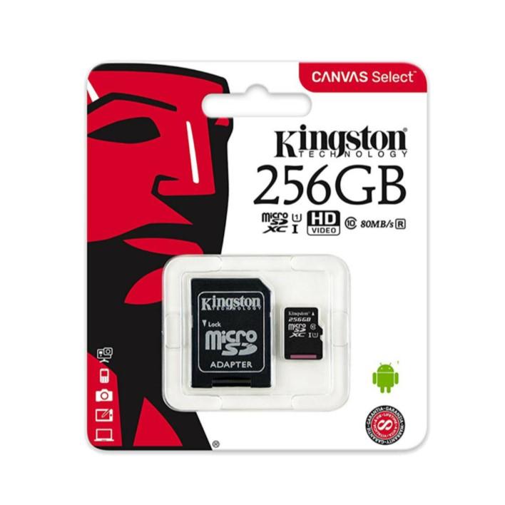 Cartão de memória Micro SDXC KINGSTON C10 256GB 100MB/s R + Adaptador SD