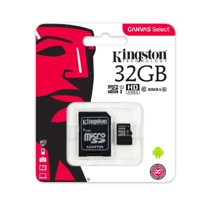 Cartão de memória Micro SDHC KINGSTON C10 32GB 80MB/s R + Adaptador SD