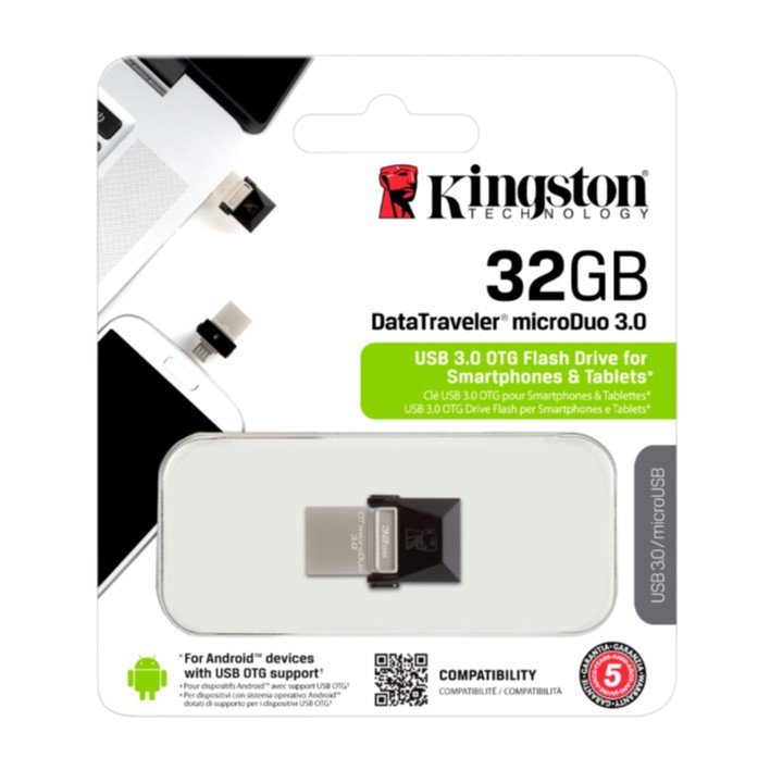 Pen USB KINGSTON microDuo - 32GB Data Traveler - USB 3.0 OTG Flash Drive for Smarthpones e Tablets MicroUSB