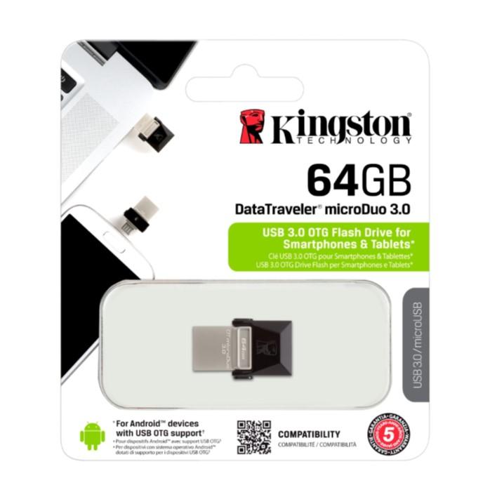 Pen USB KINGSTON microDuo - 64GB Data Traveler - USB 3.0 OTG Flash Drive for Smarthpones e Tablets MicroUSB